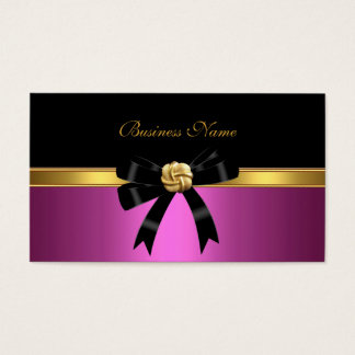 Elegant Pink Black Gold Jewel Bow Business Card
