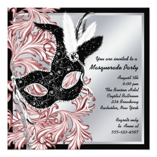 Elegant Pink Black Masquerade Party Personalized Announcement