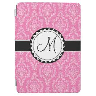 Elegant Pink Black White Damask Pattern Monogram iPad Air Cover