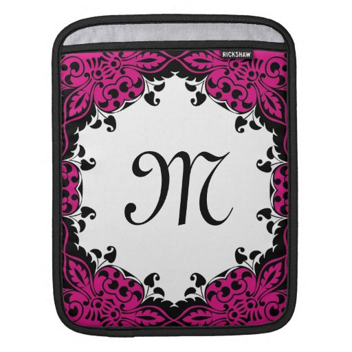 Elegant Pink  Black & White Design with Monogram iPad Sleeve