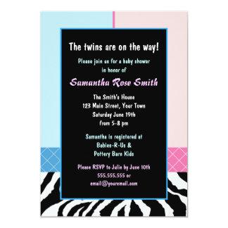 Elegant Pink Blue Zebra Boy/Girl Twins Baby Shower 13 Cm X 18 Cm Invitation Card