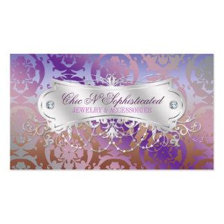 Elegant Pink Brown Purple Damask Swirl Pack Of Standard Business Cards