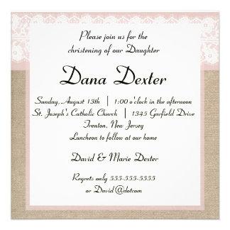 Elegant Pink Burlap Lace Baptism Invitation