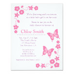 Elegant Pink butterfly baby shower party Custom Invites