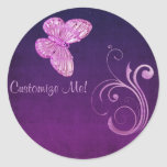 """Elegant Pink Butterfly"" Beautiful Expressions Round Stickers"