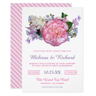 Elegant Pink Camellia Flower Wedding Invitation