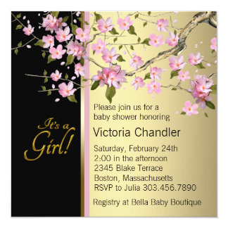 Elegant Pink Cherry Blossom Baby Shower 13 Cm X 13 Cm Square Invitation Card