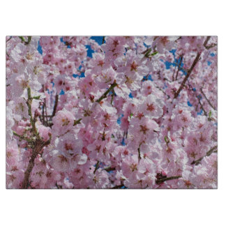 elegant pink cherry blossom tree photograph cutting board