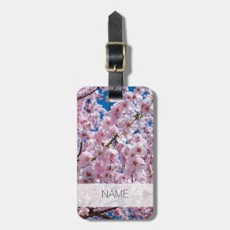 elegant pink cherry blossom tree photograph luggage tag