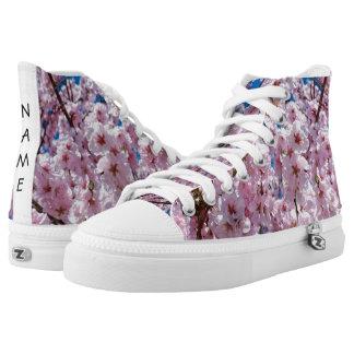 elegant pink cherry blossom tree photograph printed shoes