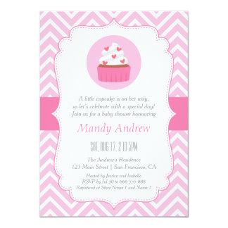 Elegant Pink Chevron Cupcake Baby Girl Shower 4.5x6.25 Paper Invitation Card