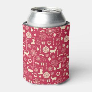 Elegant Pink Christmas Pattern Can Cooler