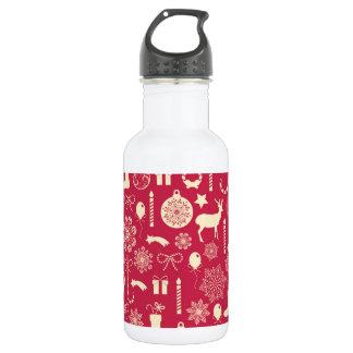 Elegant Pink Christmas Pattern Water Bottle