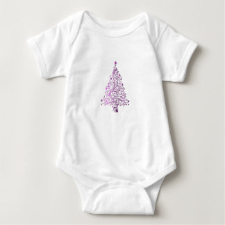 Elegant Pink Christmas Tree Holiday Season Baby Bodysuit