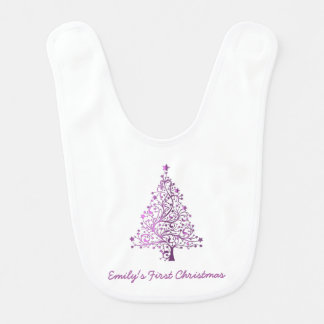 Elegant Pink Christmas Tree Holiday Season Bib