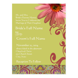 Elegant Pink ConeFlower Paisley Wedding Invitation Postcard