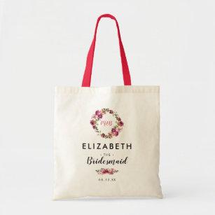 Elegant Pink Coral Floral Wedding Bridesmaid Tote Bag