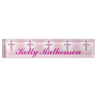 Elegant Pink Cross of Roses on Pink Dotted Desk Nameplates