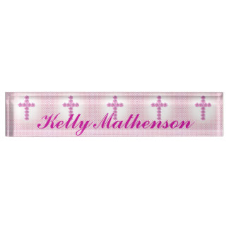 Elegant Pink Cross of Roses on Pink Dotted Nameplate