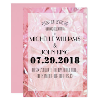 Elegant Pink Crystal Wedding Invitation Card