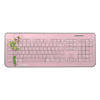 Elegant Pink Cute Flower Child Briar Rose Emma Wireless Keyboard