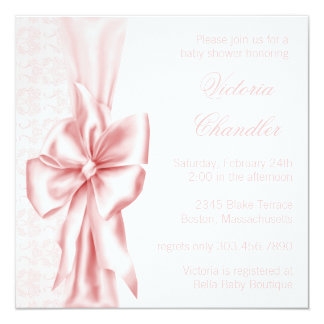 Elegant Pink Damask Baby Girl Shower Card