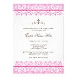 Elegant pink damask baptism/christening invitation