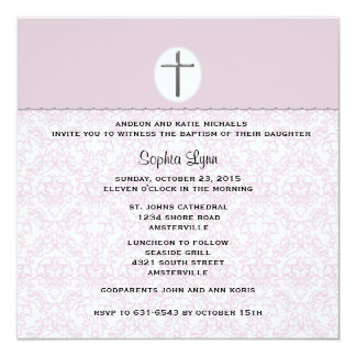 Elegant Pink Damask Invitation