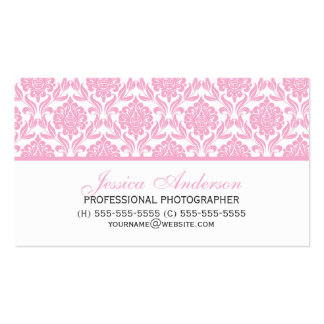 Elegant Pink Damask Pattern Business Card
