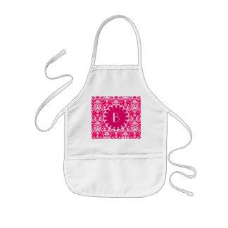 Elegant Pink Damask Pattern with Monogram Kids Apron
