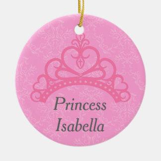 Elegant Pink Damask, Princess Tiara Ceramic Ornament