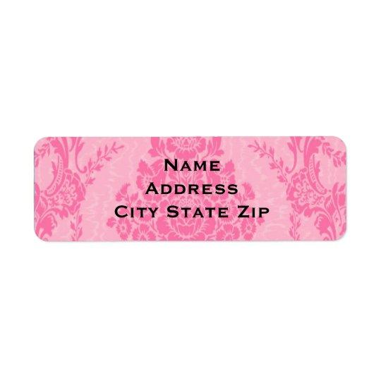 Elegant pink damask return address label