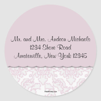 Elegant Pink Damask Return Address Sticker