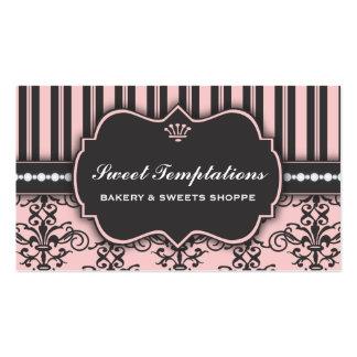 Elegant Pink Damask & Stripe Bakery Business Card