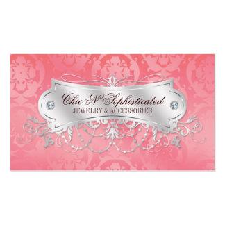 Elegant Pink Damask Swirl Pack Of Standard Business Cards