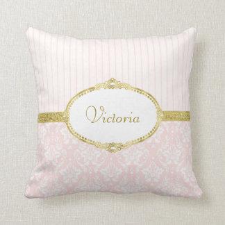 Elegant Pink Damask Vintage Gold Frame and Name Throw Pillow
