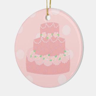 Elegant Pink Designer Cake Ceramic Ornament