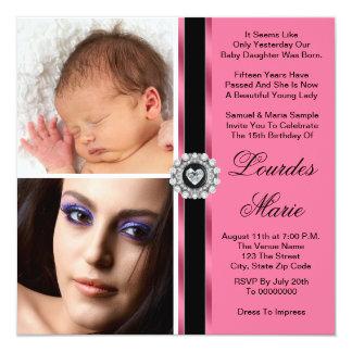 "Elegant Pink Double Photo Quinceanera Invitations 5.25"" Square Invitation Card"