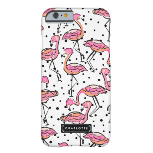 Elegant Pink Flamingo Dalmatian Dots Personalised Barely There iPhone 6 Case