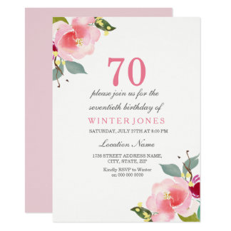 Elegant Pink Floral 70th Birthday Party Invitation