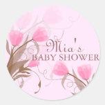 Elegant Pink Floral Baby Shower Sticker