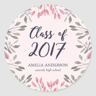 Elegant Pink Floral Class of 2017 Graduation Party Classic Round Sticker