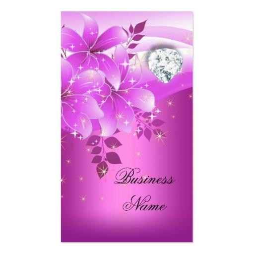 Elegant Pink Floral Diamond Business Card Templates