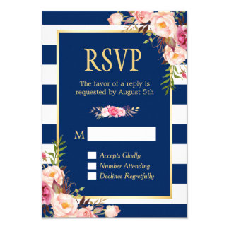 Elegant Pink Floral Navy Blue Stripes Reply RSVP 9 Cm X 13 Cm Invitation Card