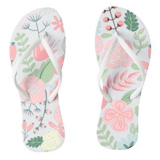 Elegant Pink Floral Thongs