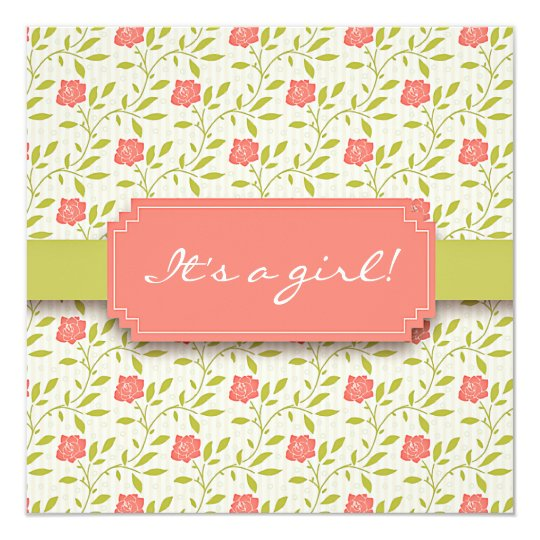 Elegant Pink Floral Vintage Girly Baby Shower Card