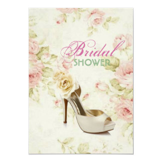 elegant Pink Floral vintage shoe Bridal Shower Card