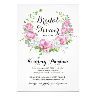 Elegant Pink Floral Watercolor Bridal Shower Card