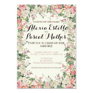 Elegant Pink Floral Wedding Invitation