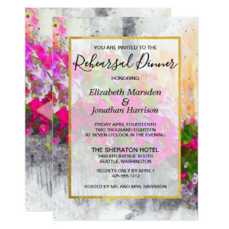 Elegant Pink Florals Watercolor Rehearsal Dinner Card